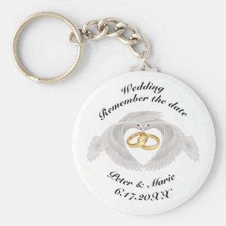 Rappelez-vous le mariage de date porte-clé rond