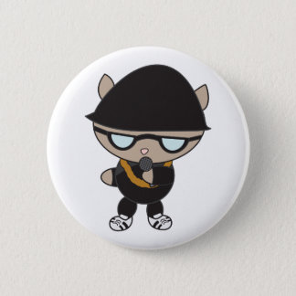 Rapper Cat in Bell Hat 2 Inch Round Button