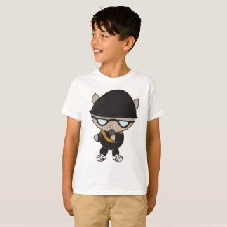 Rapper Cat in Black Bell Hat Sunglasses T-Shirt