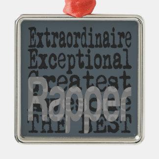 Rapper Extraordinaire Silver-Colored Square Ornament