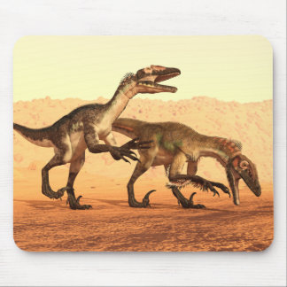 Raptor Dinosaurs in the Desert Mouse Pad