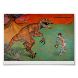 """Raptor vs Sax""  saxophone player with dinosaur Poster"