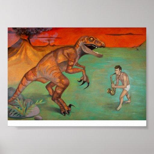 """Raptor vs Sax""  saxophone player with dinosaur Poster"