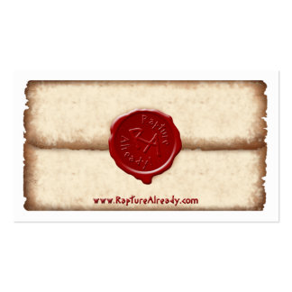 Rapture Already! Sealed Parchment Personal Card Pack Of Standard Business Cards