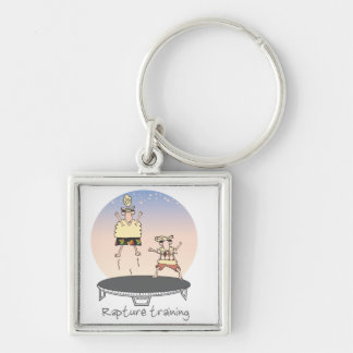 Rapture Training Silver-Colored Square Keychain