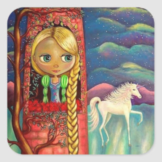 Rapunzel in Pink Tower with Unicorn Friend Square Sticker
