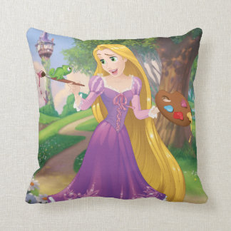 Rapunzel   Painting With Pascal Throw Pillow