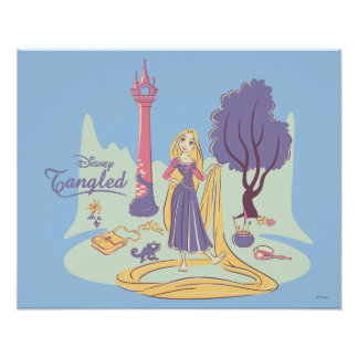 Rapunzel & Pascal in Pretty Pastels Poster