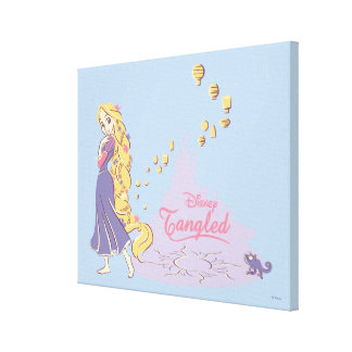 Rapunzel & Pascal in Purple Canvas Print