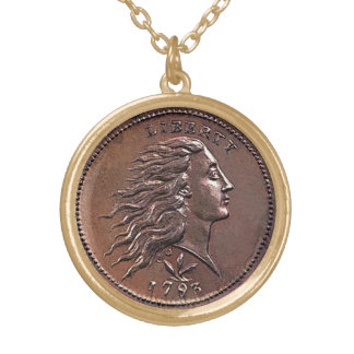 Rare 1793 U.S. Penny Gold Plated Necklace