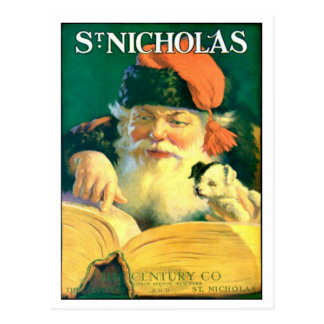 "RARE EARLY VINTAGE SANTA W ""GOOD"" BOOK POSTCARD"