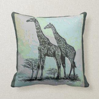 Rare Retro African Giraffes in High Color Design Throw Pillow