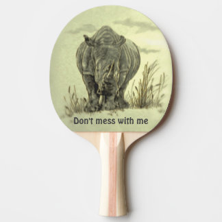 Rare Retro Drawing of African Rhinoceros Ping-Pong Paddle