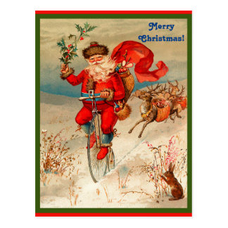 Rare Santa Claus on Velocipede Chased by Reindeer Postcard