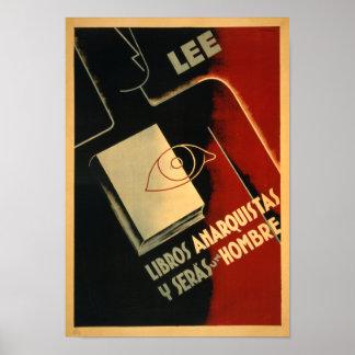 Rare Spanish Civil War Anarchist Poster - Read