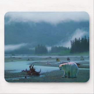 Rare Spirit Bear and Misty BC River Mouse Pad