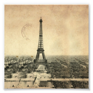 Rare vintage postcard with Eiffel Tower in Paris Photo Print