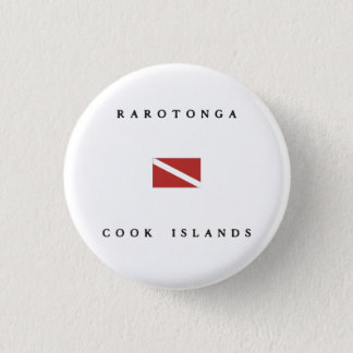 Rarotonga Cook Islands Scuba Dive Flag 1 Inch Round Button