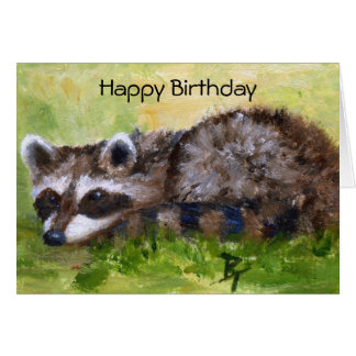 Rascal aceo Raccoon Birthday Card