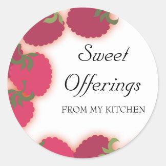 raspberries glow fruit baking ktichen gift stic... round sticker