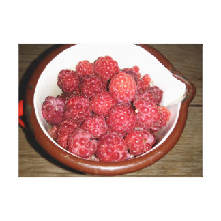 Raspberries In A Vintage Enamel Cup Canvas Print