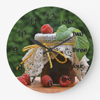 Raspberries Large Clock