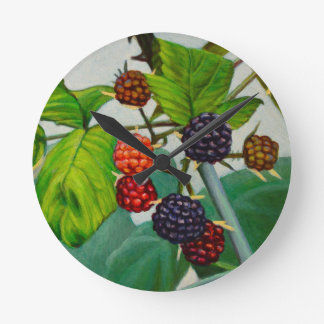 Raspberries Round Clock