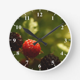 Raspberries Round Medium Wall Clock
