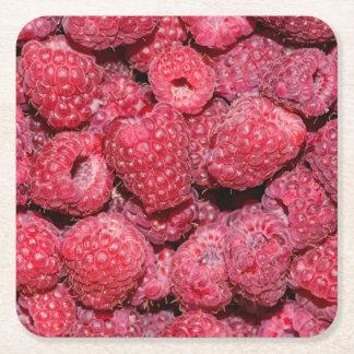 Raspberries Square Paper Coaster