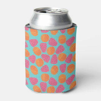 Raspberries Tangerines on Bright Turquoise Blue Can Cooler