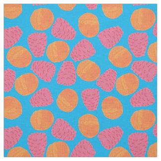 Raspberries, Tangerines on Bright Turquoise Blue Fabric