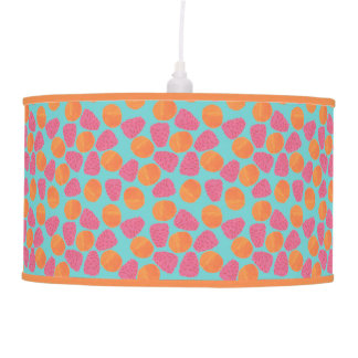 Raspberries Tangerines on Bright Turquoise Blue Pendant Lamp