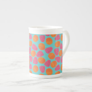 Raspberries Tangerines on Bright Turquoise Blue Tea Cup