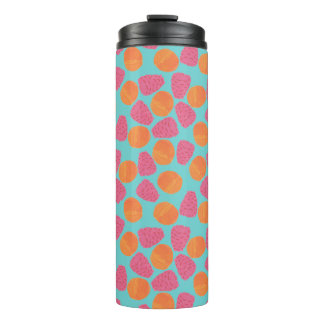 Raspberries Tangerines on Bright Turquoise Blue Thermal Tumbler
