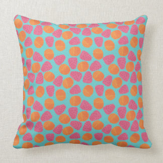 Raspberries, Tangerines on Bright Turquoise Blue Throw Pillow