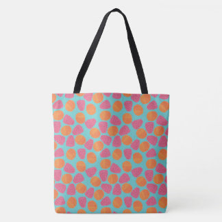 Raspberries, Tangerines on Bright Turquoise Blue Tote Bag