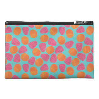 Raspberries Tangerines on Bright Turquoise Blue Travel Accessory Bags