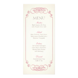 Raspberry and Cream Filigree Wedding Menu Custom Rack Cards