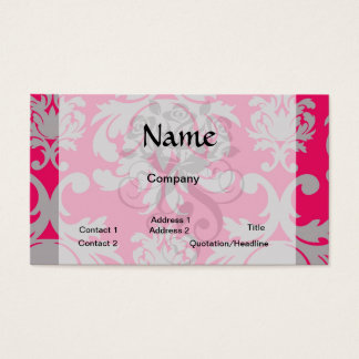Raspberry and grey damask business card