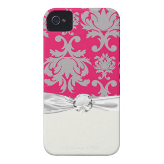 Raspberry and grey damask Case-Mate iPhone 4 case