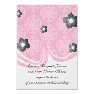 """Raspberry and pink damask 5"""" x 7"""" invitation card"""