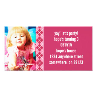 Raspberry Argyle Birthdy Photo Invitation Custom Photo Card