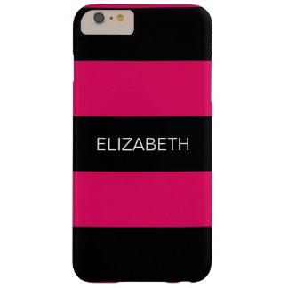 Raspberry Black Horiz Preppy Stripe #3 Monogram Barely There iPhone 6 Plus Case