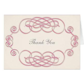 Raspberry & Cream Filigree A2 Thank You Note Card