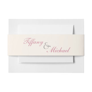 Raspberry & Cream Filigree  Envelope Belly Band Invitation Belly Band