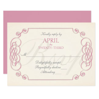 Raspberry Cream Filigree Wedding Invitation RSVP
