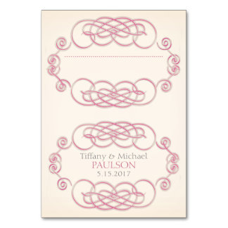 Raspberry & Cream Filigree Wedding Place Cards