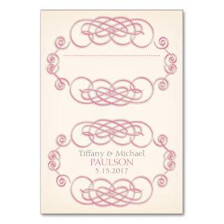 Raspberry & Cream Filigree Wedding Place Cards Table Card