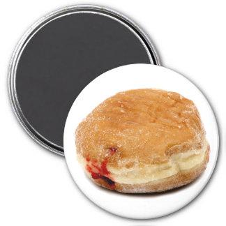 Raspberry Filled Doughnut 3 Inch Round Magnet