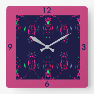 Raspberry Fireworks on Navy Wall Clock-Home Decor Square Wall Clock